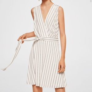 Mango white striped dress